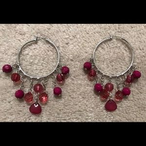 Hoops with Plum Beads